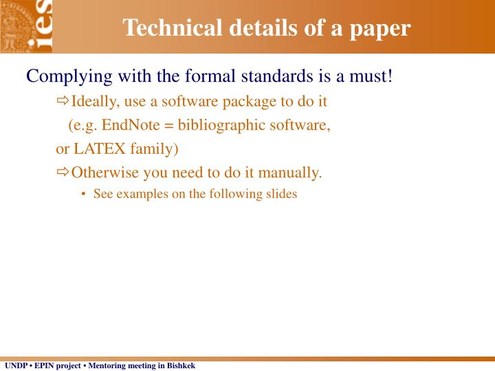 Technical details of a paper