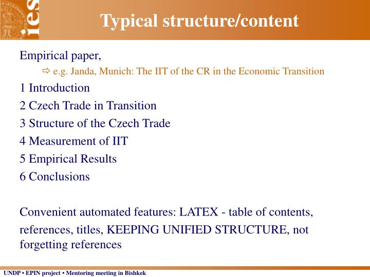 Typical structure/content