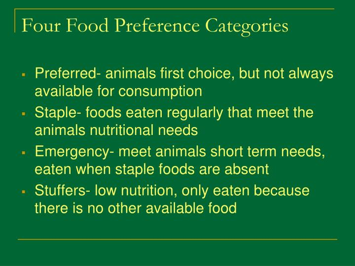 Four Food Preference Categories