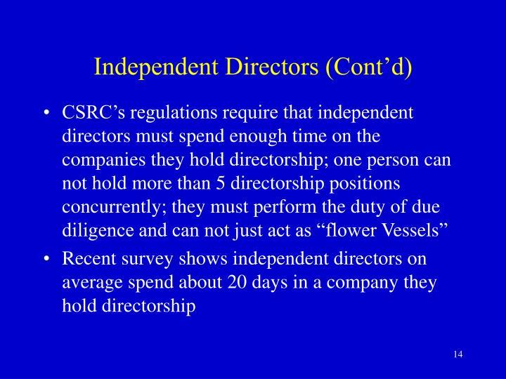 Independent Directors (Cont'd)