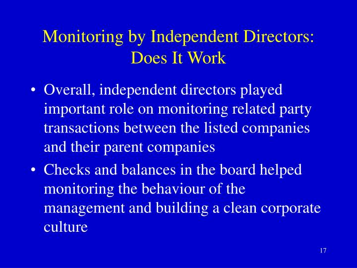 Monitoring by Independent Directors: Does It Work