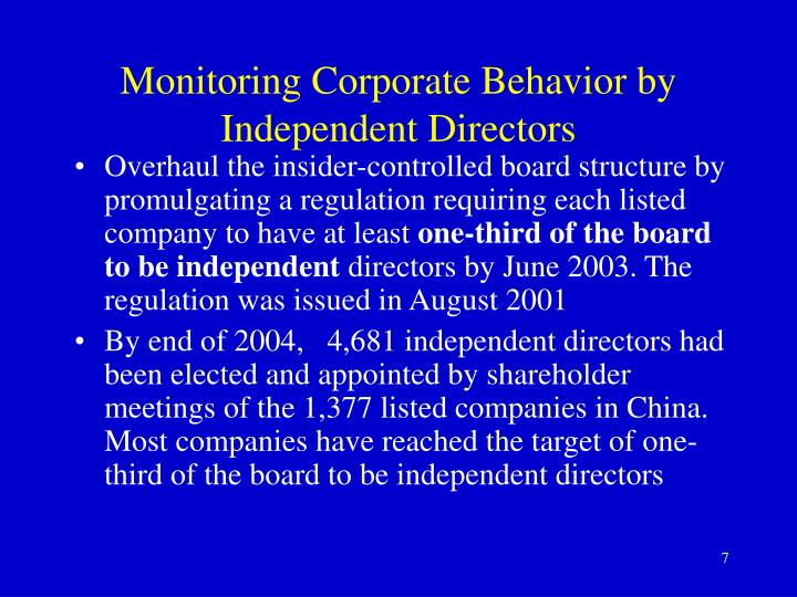 Monitoring Corporate Behavior by