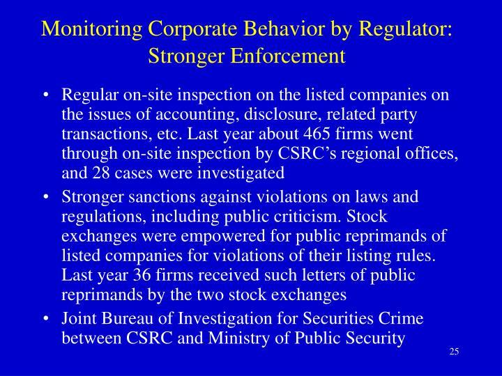 Monitoring Corporate Behavior by Regulator: