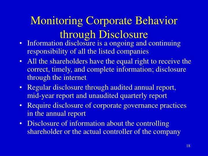 Monitoring Corporate Behavior through