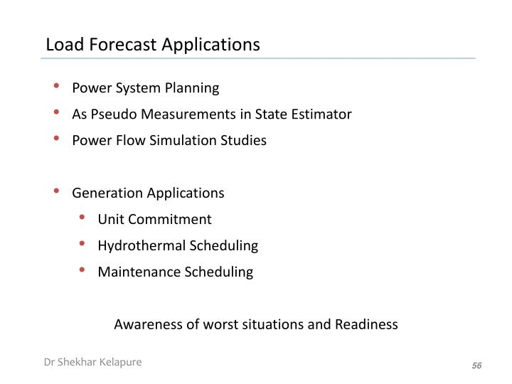 Load Forecast Applications