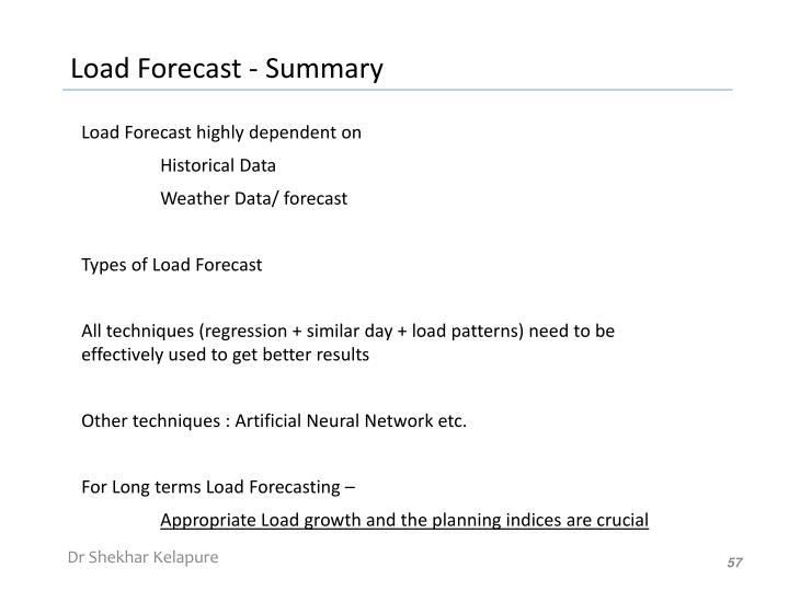 Load Forecast - Summary