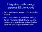 integrative methodology expands ebm methods