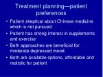 treatment planning patient preferences