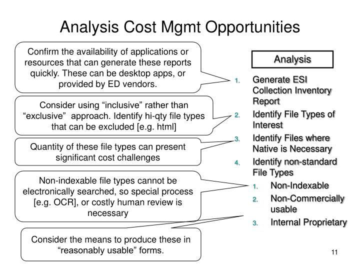 Analysis Cost Mgmt Opportunities