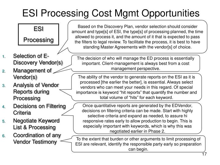 ESI Processing Cost Mgmt Opportunities