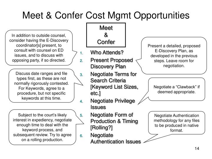 Meet & Confer Cost Mgmt Opportunities