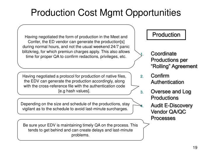 Production Cost Mgmt Opportunities