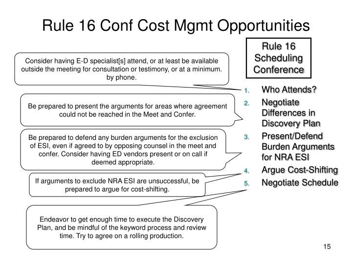 Rule 16 Conf Cost Mgmt Opportunities