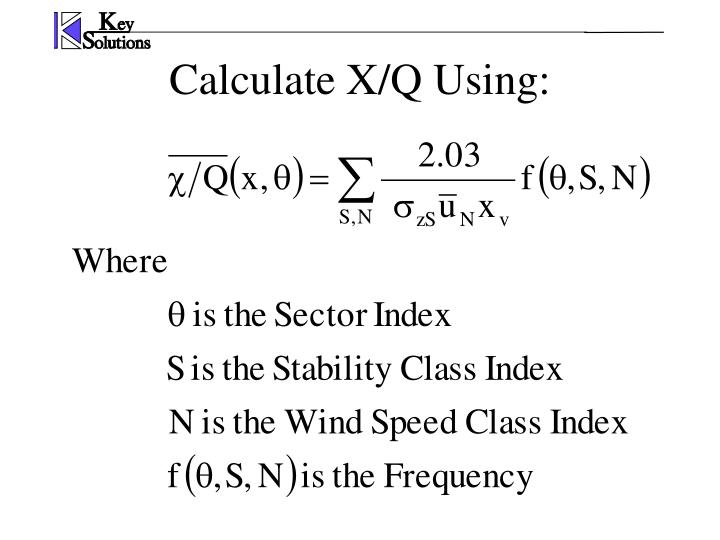 Calculate X/Q Using: