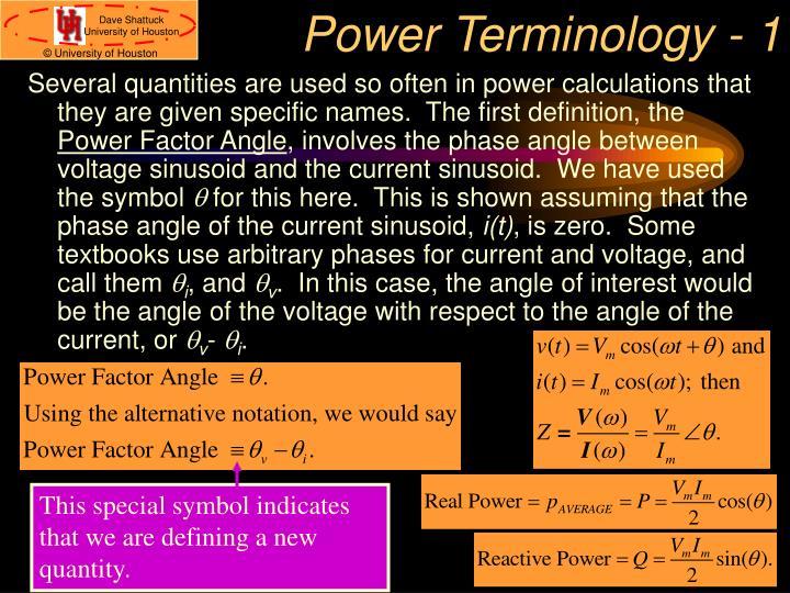 Power Terminology - 1