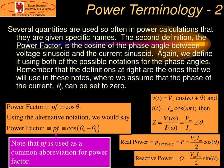 Power Terminology - 2