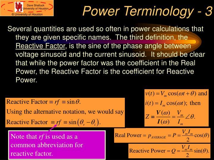 Power Terminology - 3