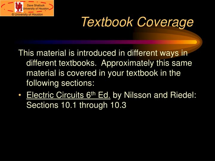 Textbook coverage