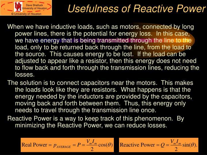 Usefulness of Reactive Power