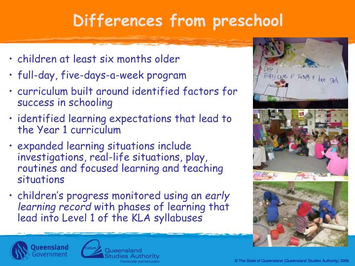 Differences from preschool