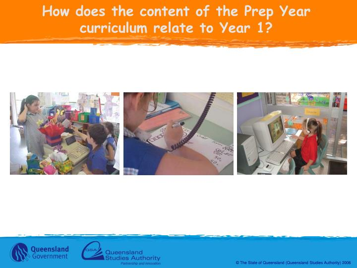How does the content of the Prep Year curriculum relate to Year 1?