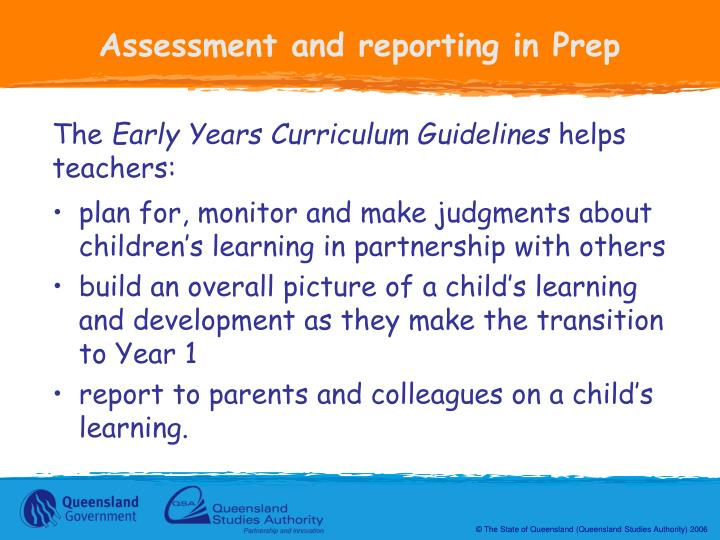 Assessment and reporting in Prep