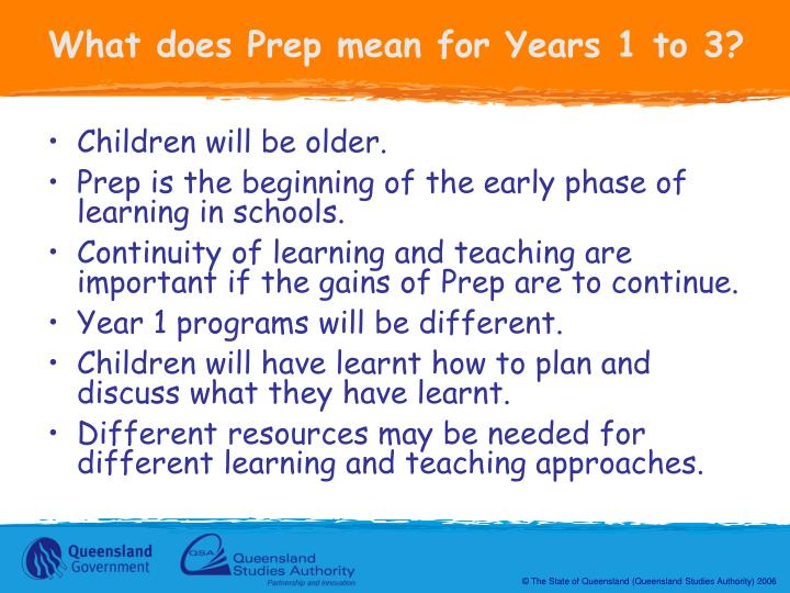 What does Prep mean for Years 1 to 3?