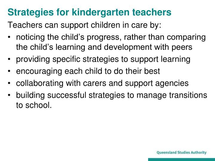 Strategies for kindergarten teachers