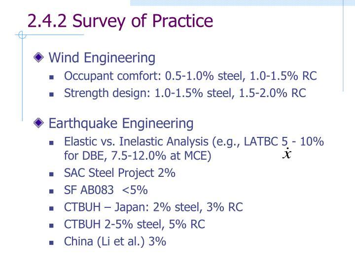 2.4.2 Survey of Practice
