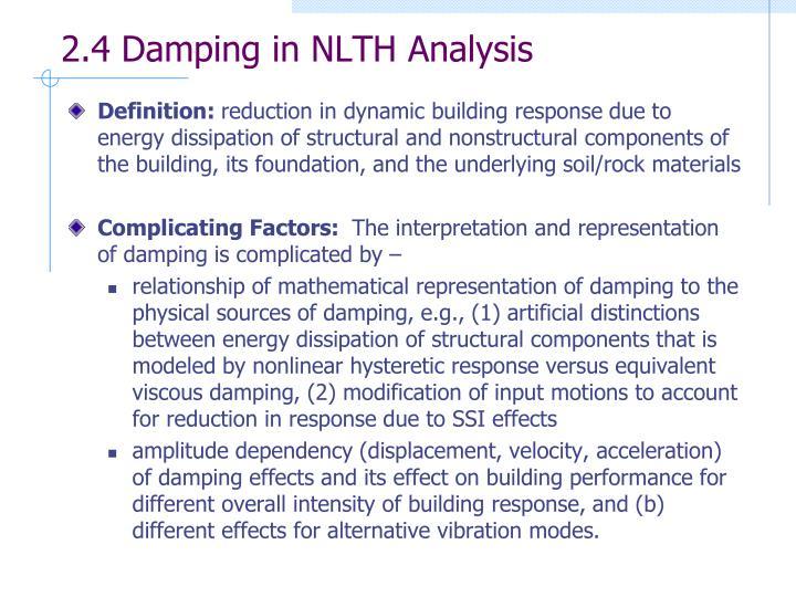 2.4 Damping in NLTH Analysis