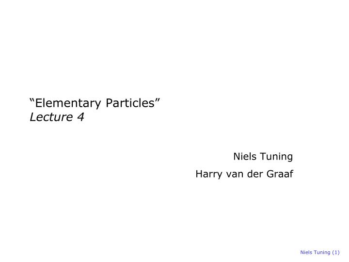 elementary particles lecture 4 n.
