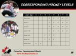 corresponding hockey levels