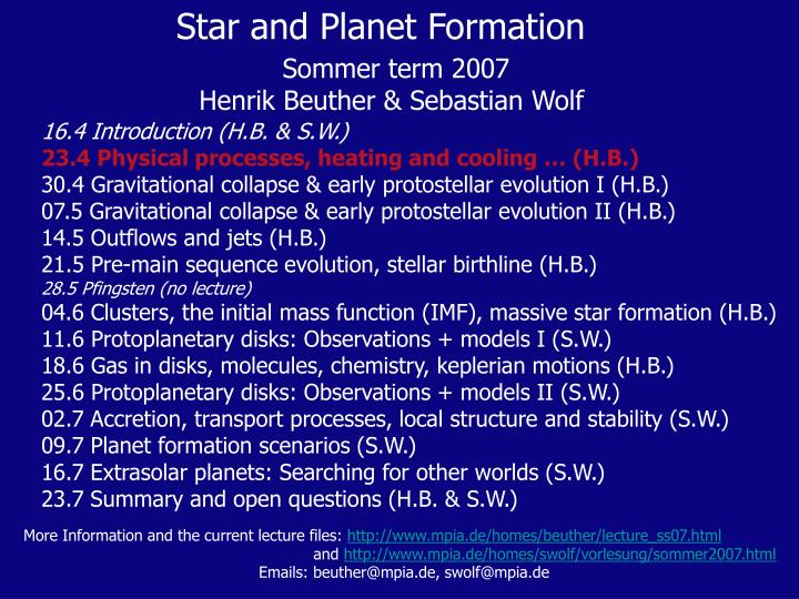 Star and Planet Formation