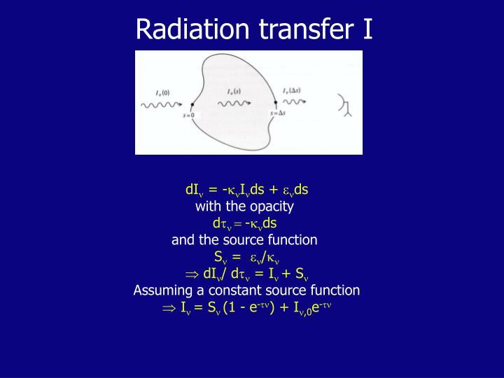 Radiation transfer I
