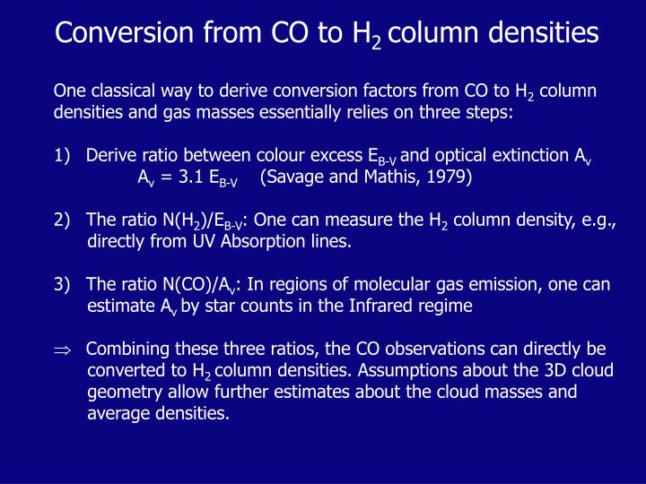 Conversion from CO to H