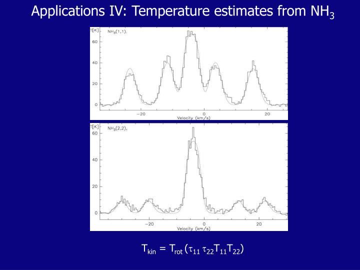 Applications IV: Temperature estimates from NH