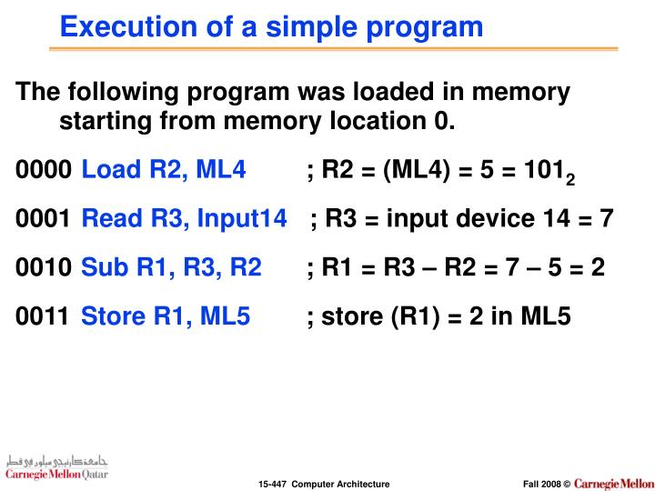 Execution of a simple program