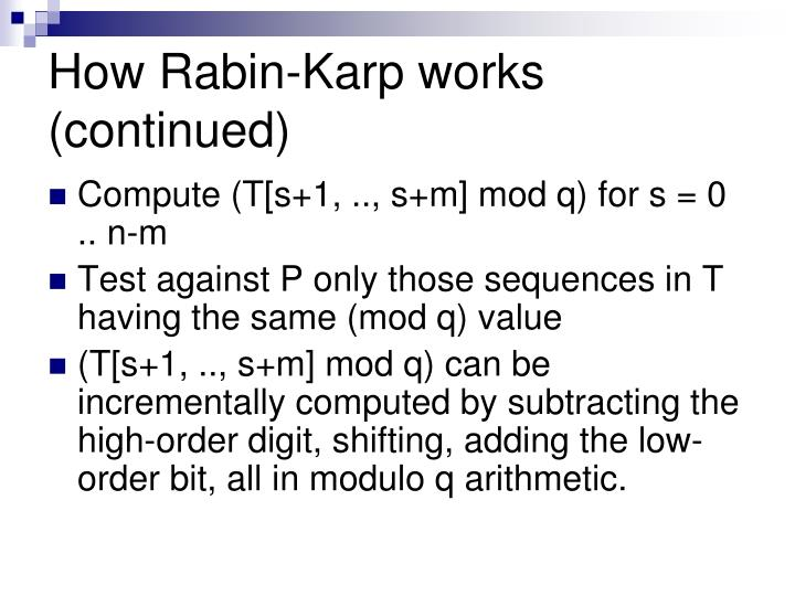 How Rabin-Karp works (continued)