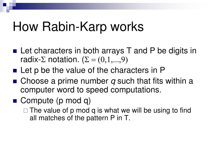 How rabin karp works