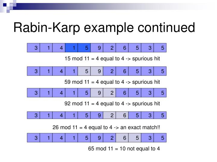Rabin-Karp example continued