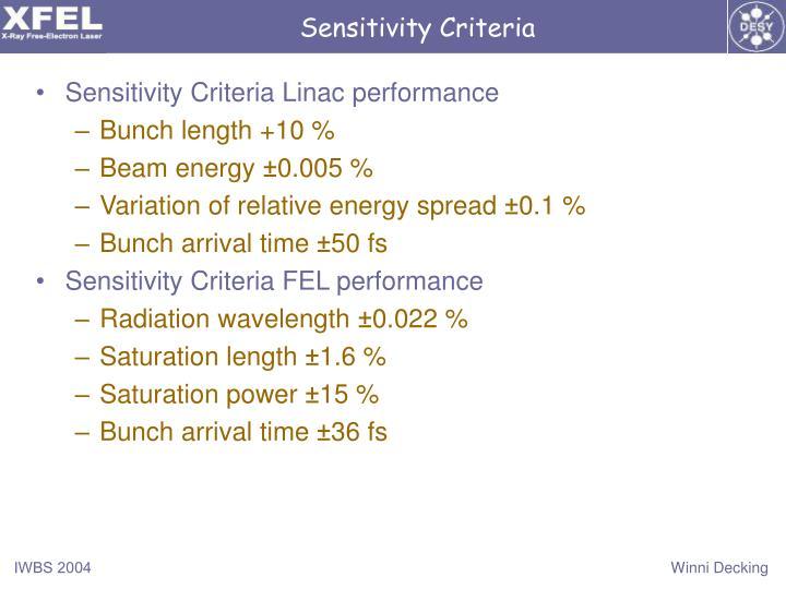 Sensitivity Criteria