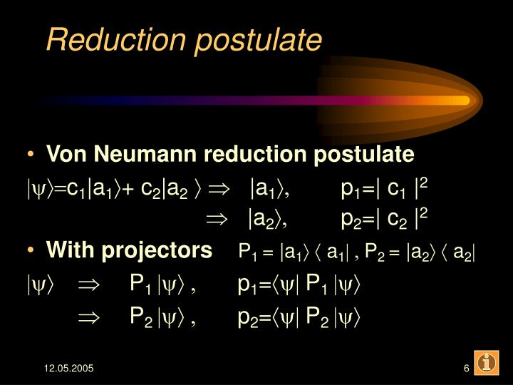 Reduction postulate
