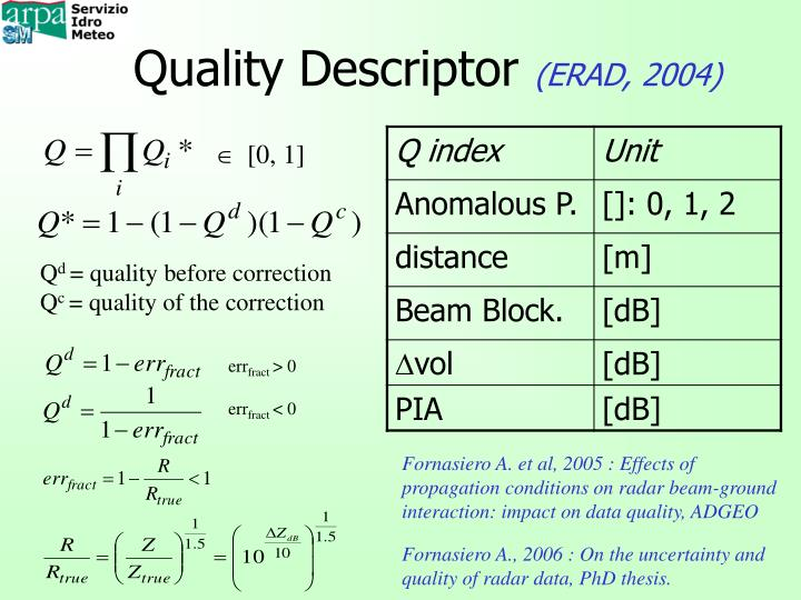 Quality descriptor erad 2004