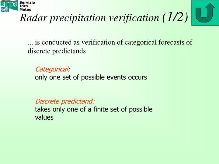 Radar precipitation verification