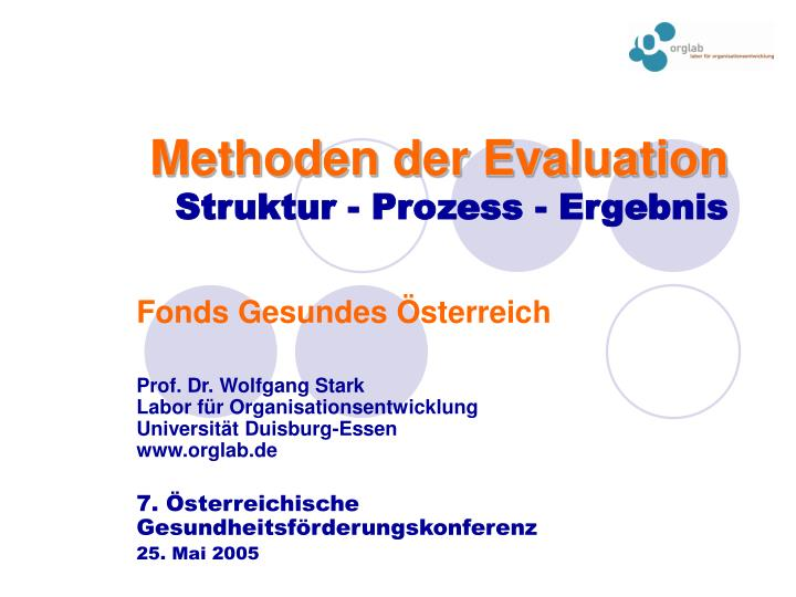 Methoden der Evaluation