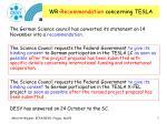 wr recommendation concerning tesla