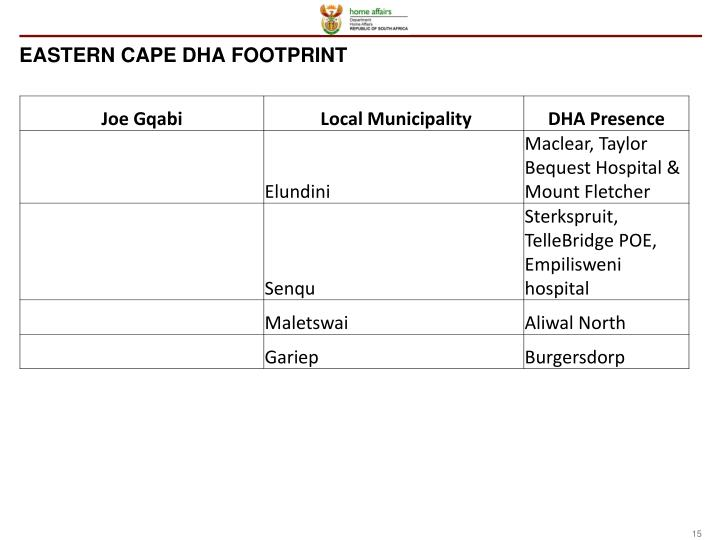 EASTERN CAPE DHA FOOTPRINT