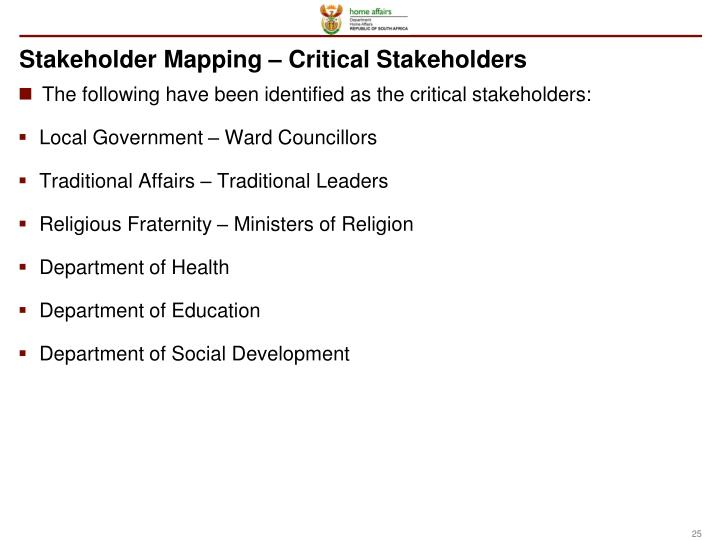 Stakeholder Mapping – Critical Stakeholders