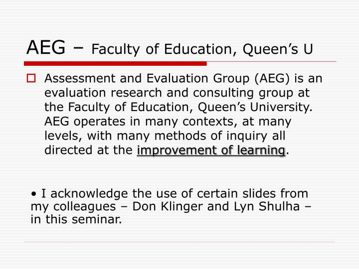 Aeg faculty of education queen s u