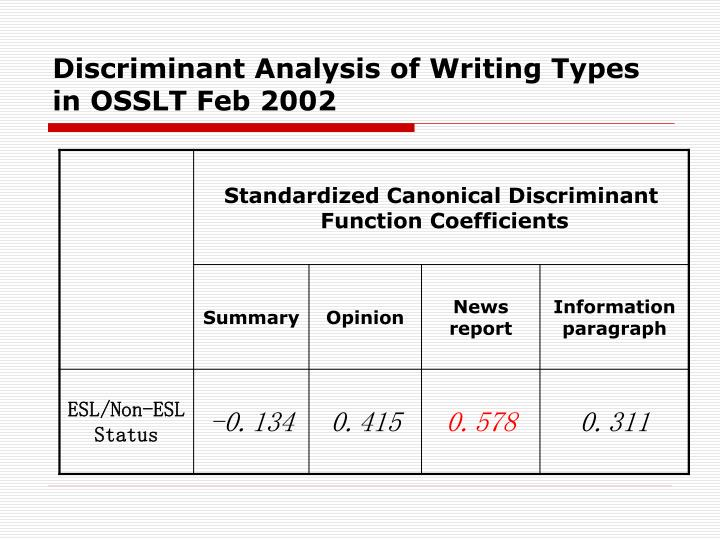 Discriminant Analysis of Writing Types in OSSLT Feb 2002
